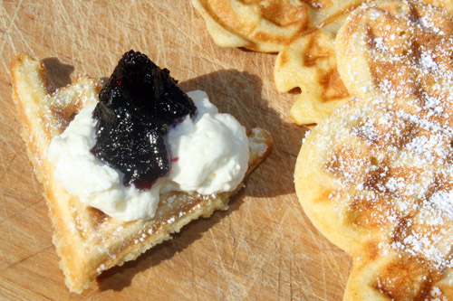 waffles with elderberries